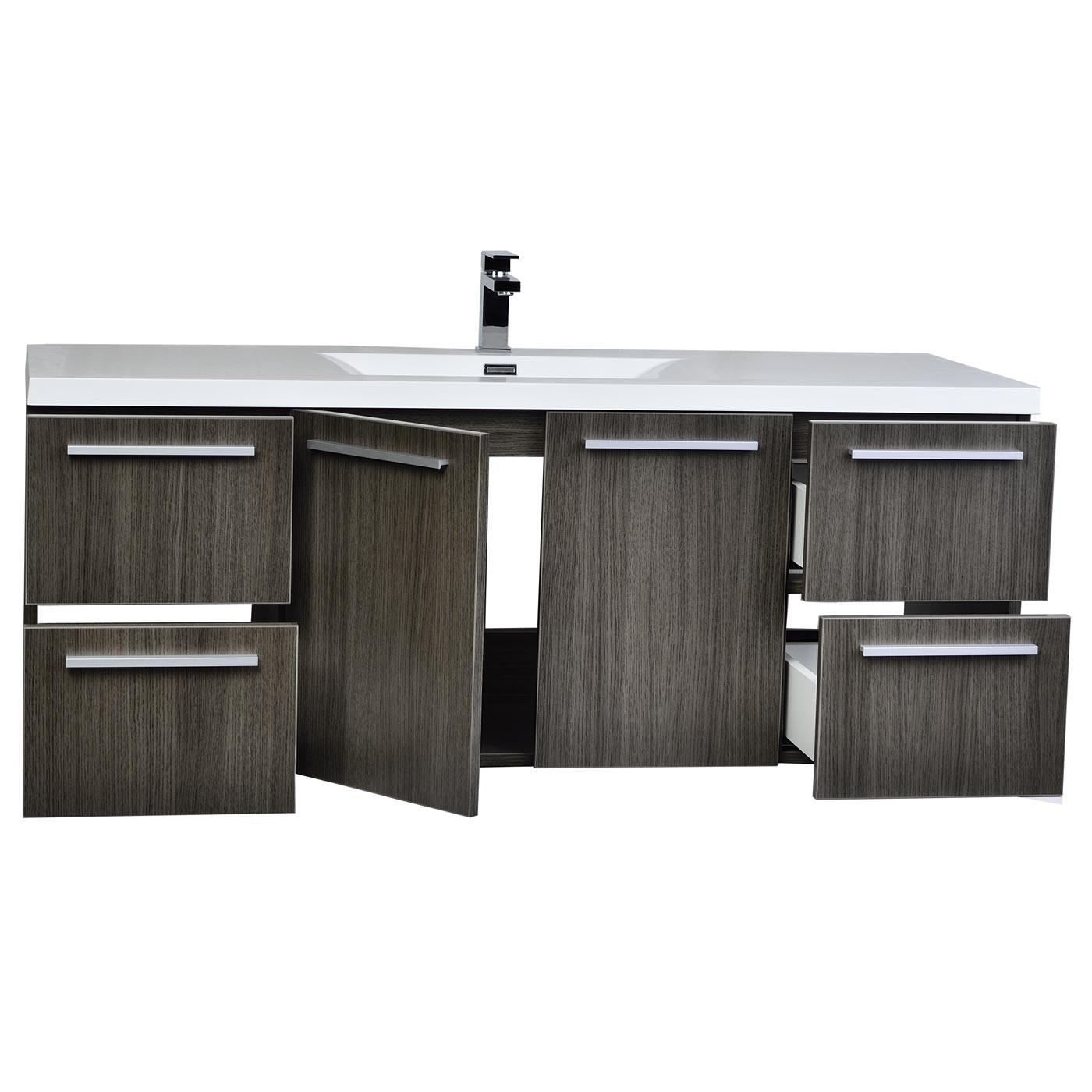 Inch Wall Mount Contemporary Bathroom Vanity Grey Oak
