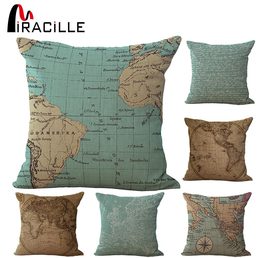 Inches Square Vintage World Map Pillows Outdoor Cushion