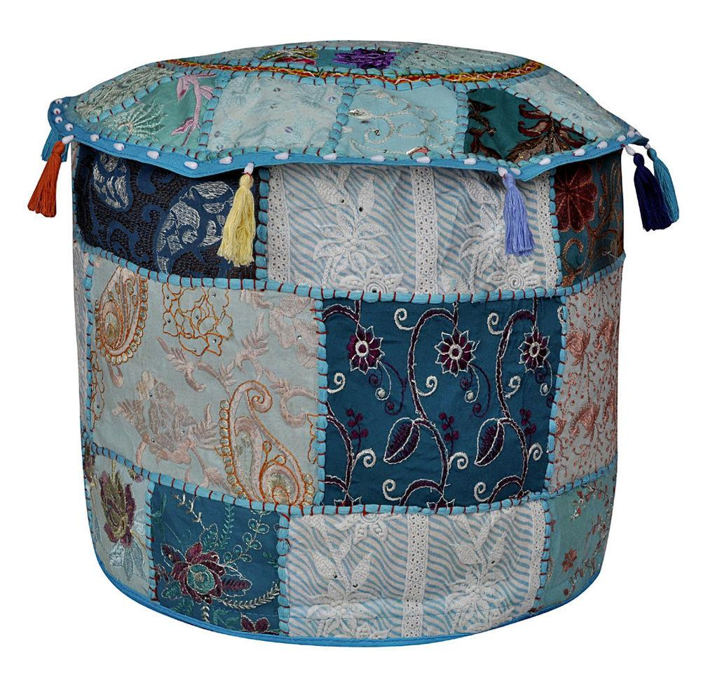 Indian Patchwork Pouf Ottoman Moroccan Style Footstool