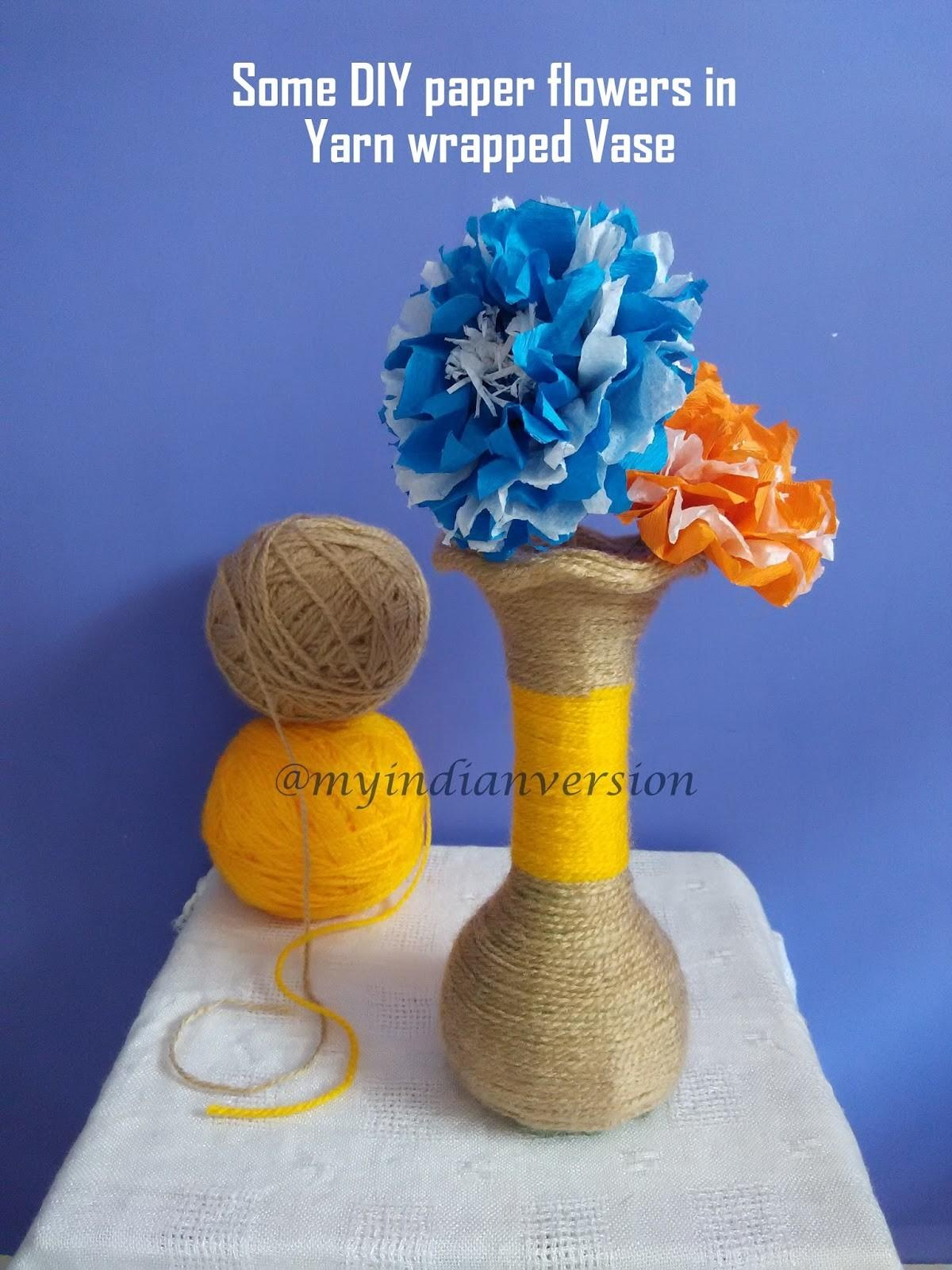Indian Version Diy Yarn Wrapped Vase Tutorial