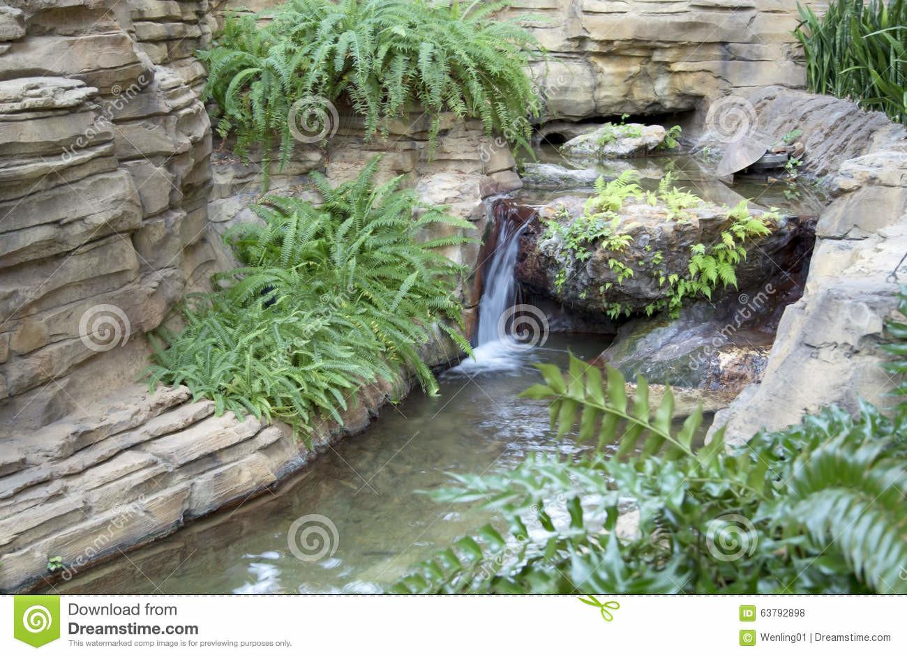 Indoor Garden Waterfall Design Stock