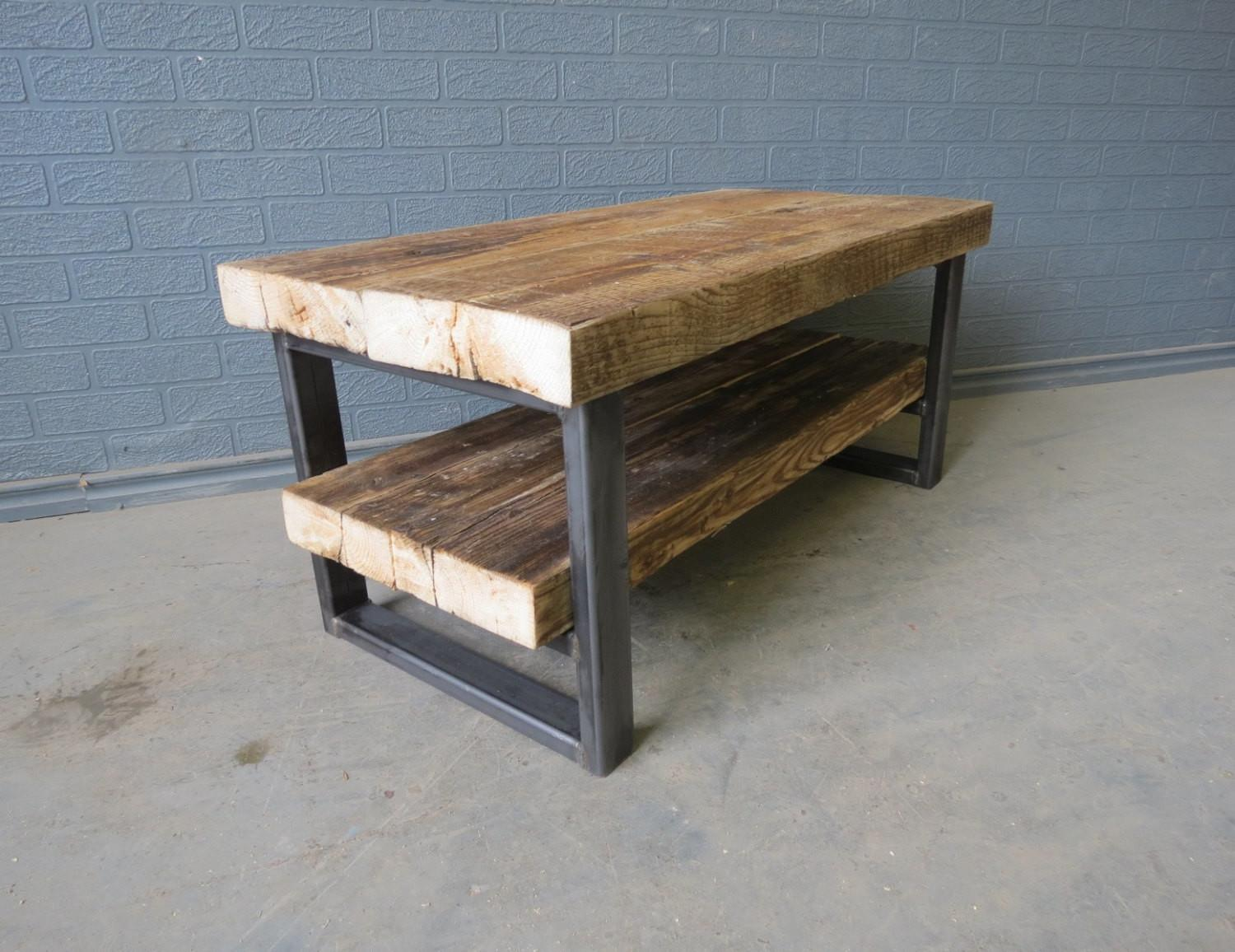 Industrial Chic Style Reclaimed Custom Coffee Table Unit