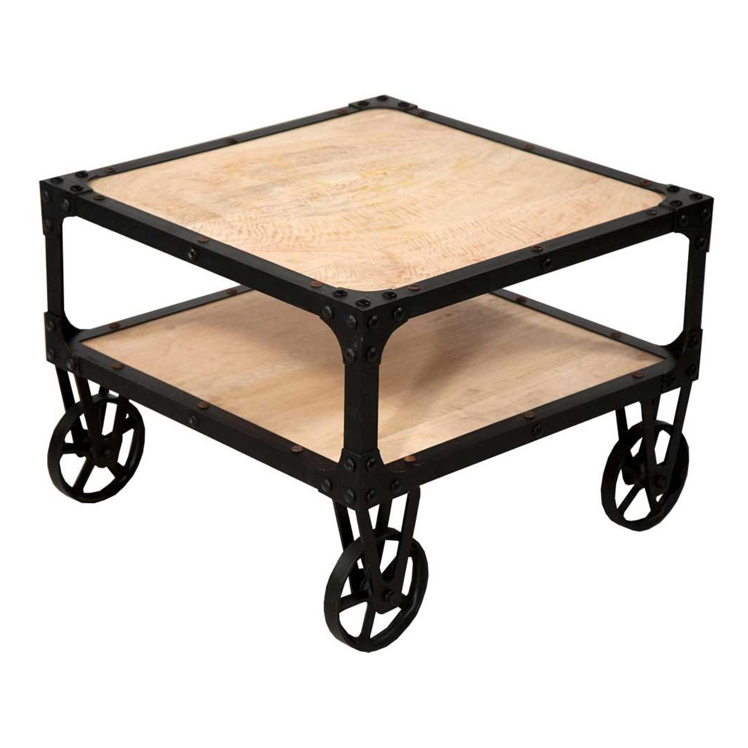 Industrial Coffee Table Wheels Natural Black Achica