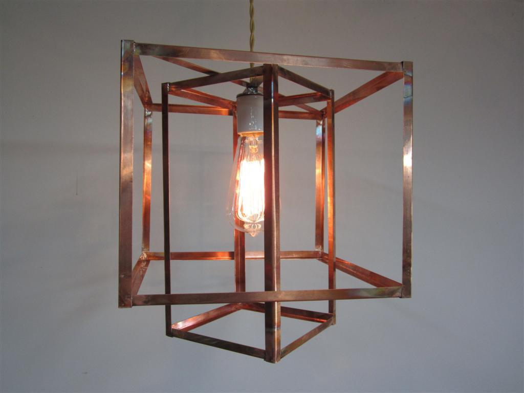 Industrial Geometric Copper Hanging Pendant Light
