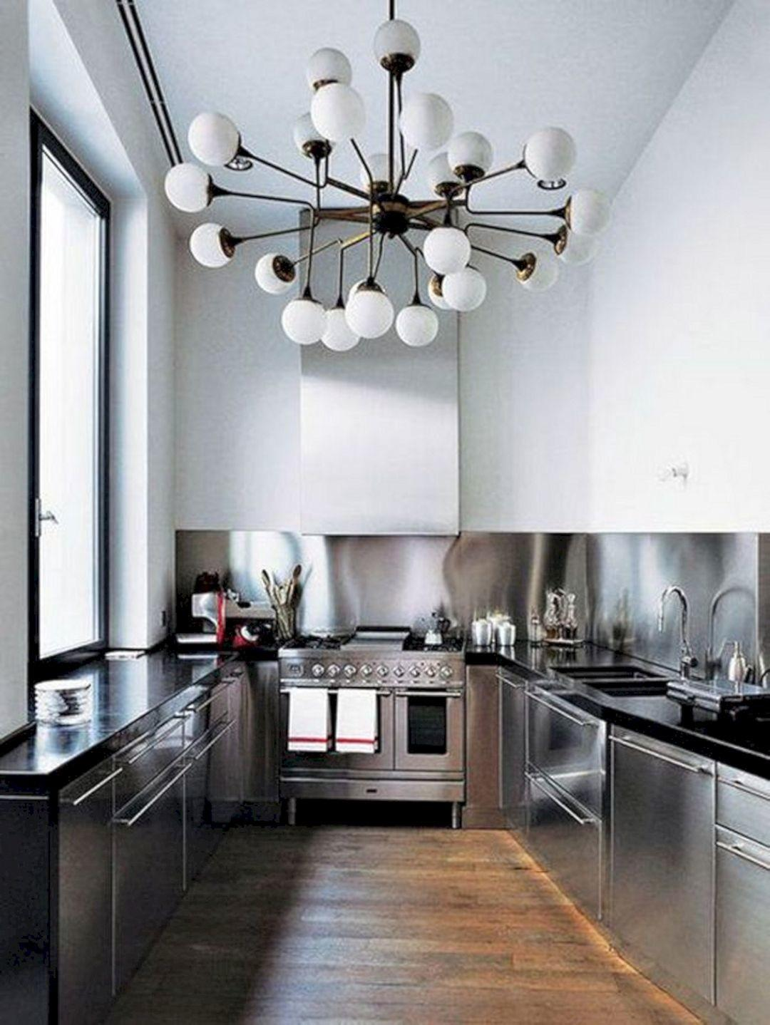 Industrial Home Kitchen Lighting Stainless Steel Spaces
