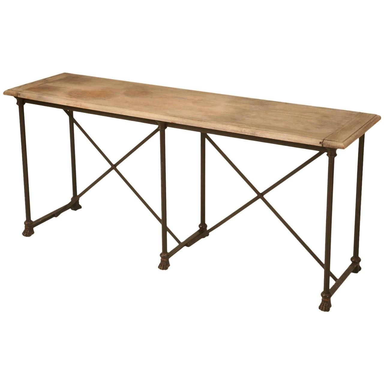 Industrial Oak Steel Paw Console Table 1stdibs