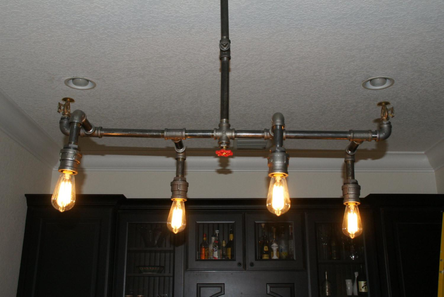 Industrial Pipe Fire Sprinkler Chandelier Light Custom