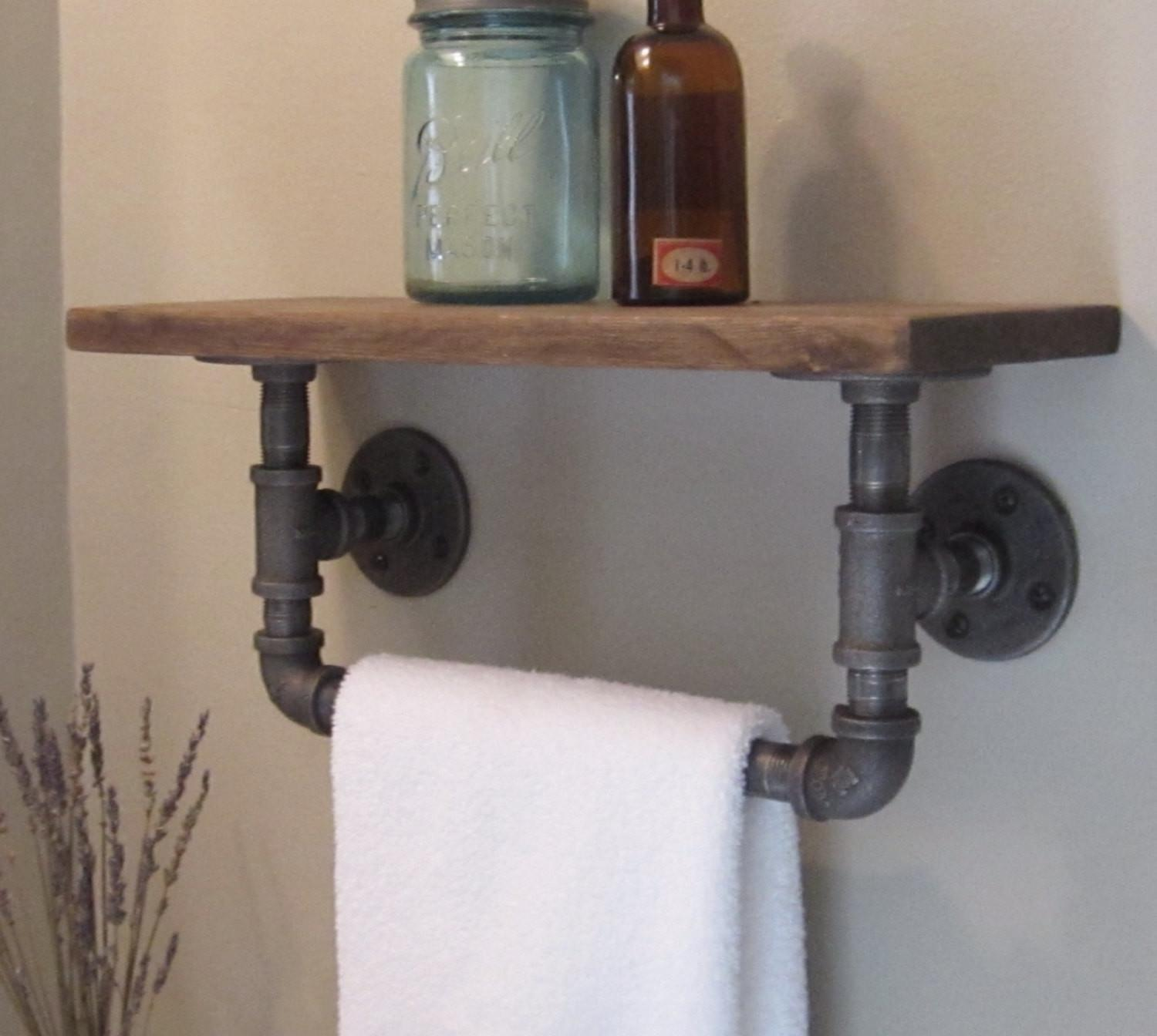 Industrial Pipe Hand Towel Rack Wood Shelf