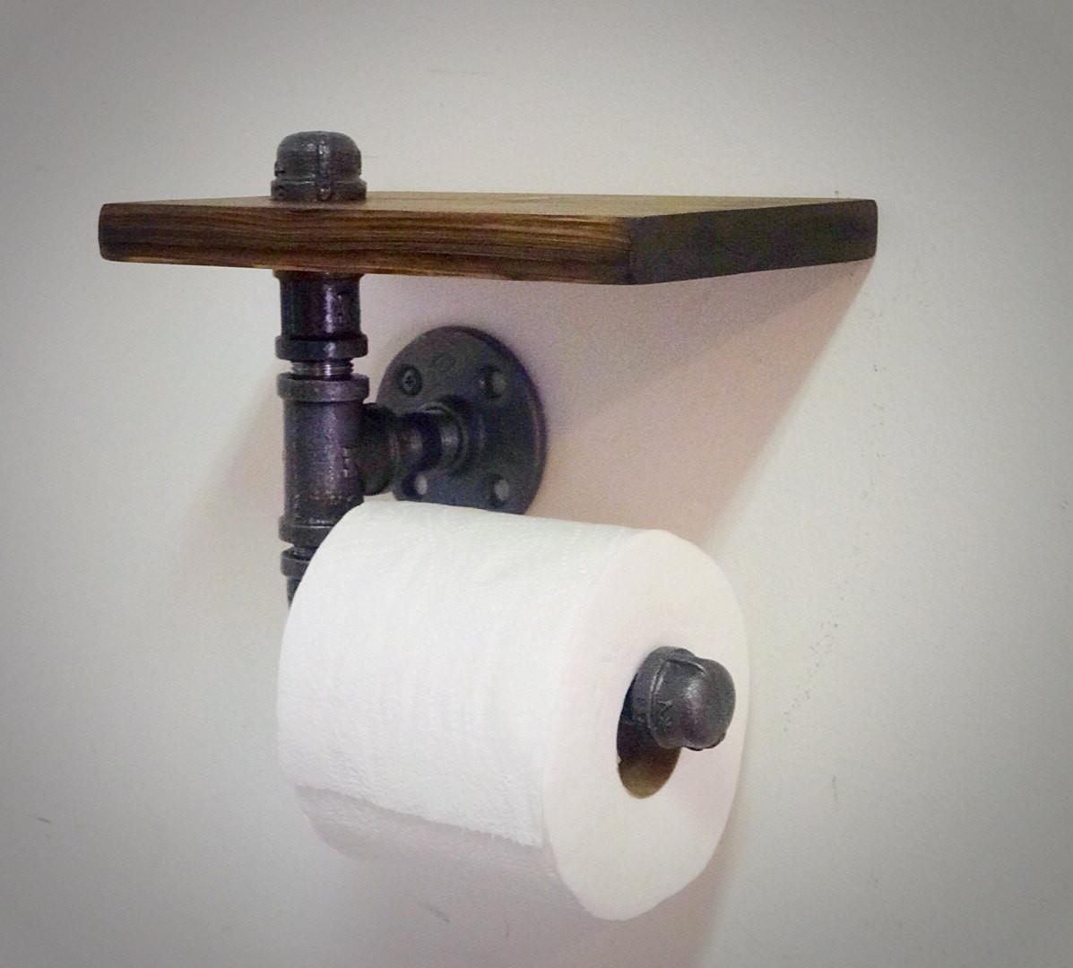 Industrial Pipe Toilet Paper Holder Shelf