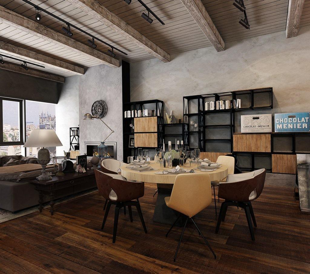 Industrial Style Apartment Living Dining Room