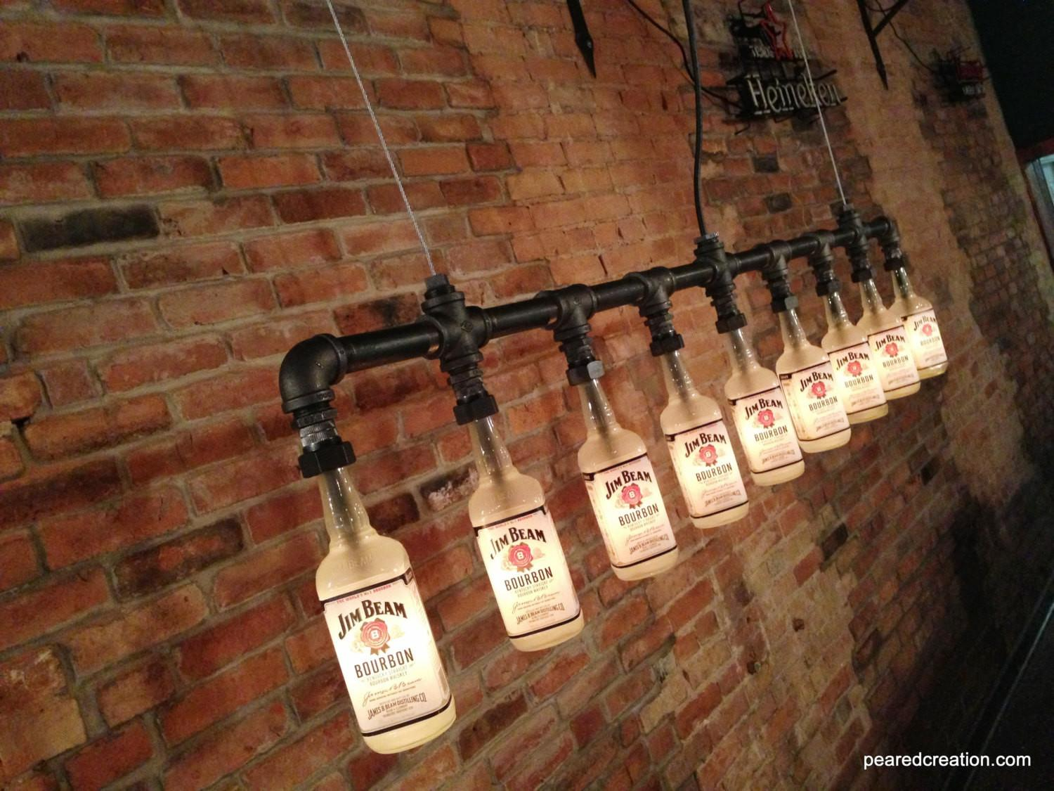 Industrial Style Bottle Lamp Jim Beam Chandelier Steampunk