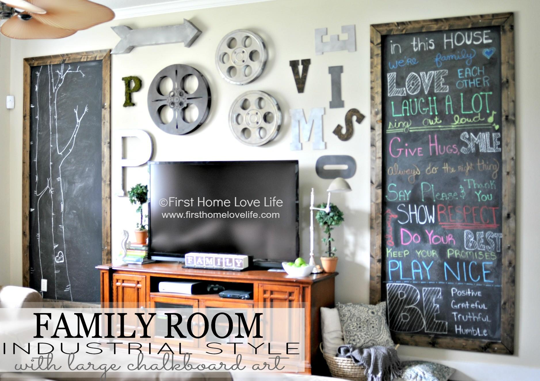 Industrial Style Family Room Wall Chalkboard