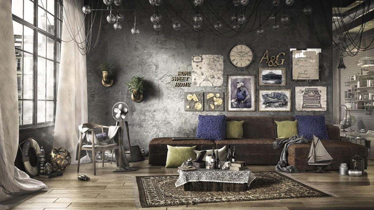 Industrial Style Living Room Design Apply