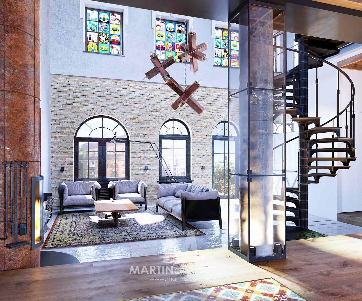 Industrial Style Loft Kiev Artfully Blends Drama Light