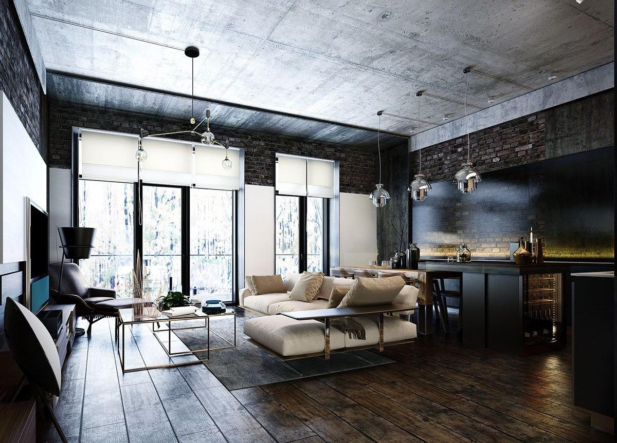 Industrial Style Modern Bachelor Apartment Design