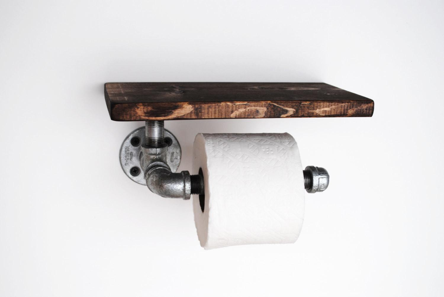 Industrial Toilet Paper Holder Shelf Galvanized Pipe