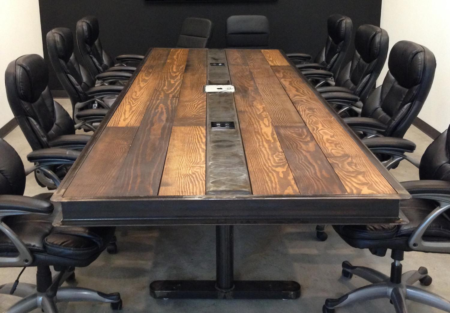 Industrial Vintage Conference Room Table Raw Steel Body