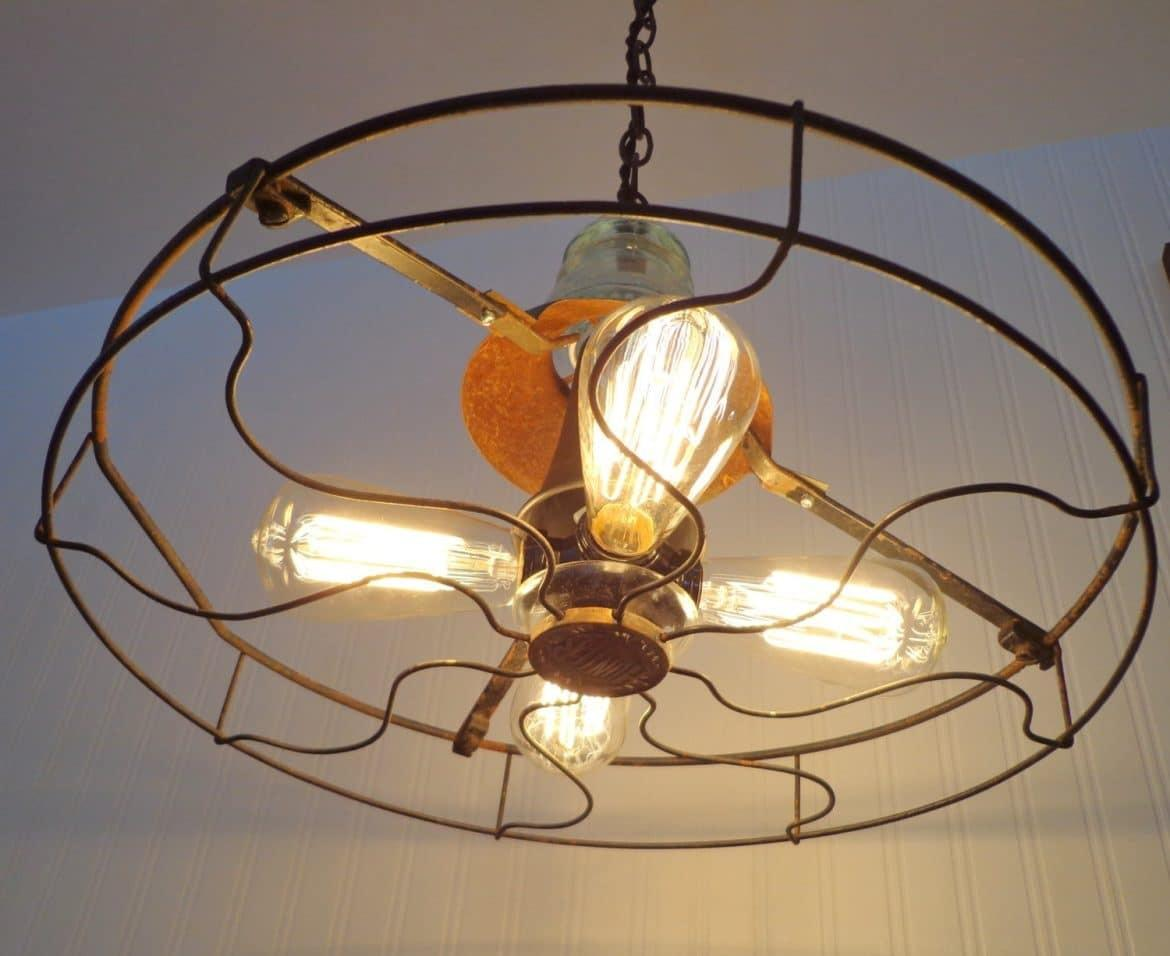 Industrial Vintage Fan Chandelier Edison Filament