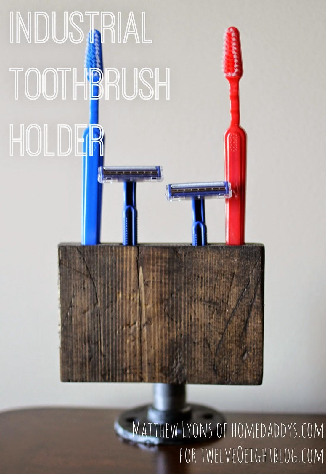 Industrial Wood Pipe Toothbrush Holder