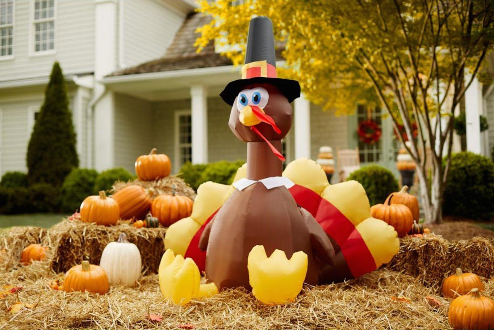 Inflatable Lighted Turkey Halloween Happy Thanksgiving