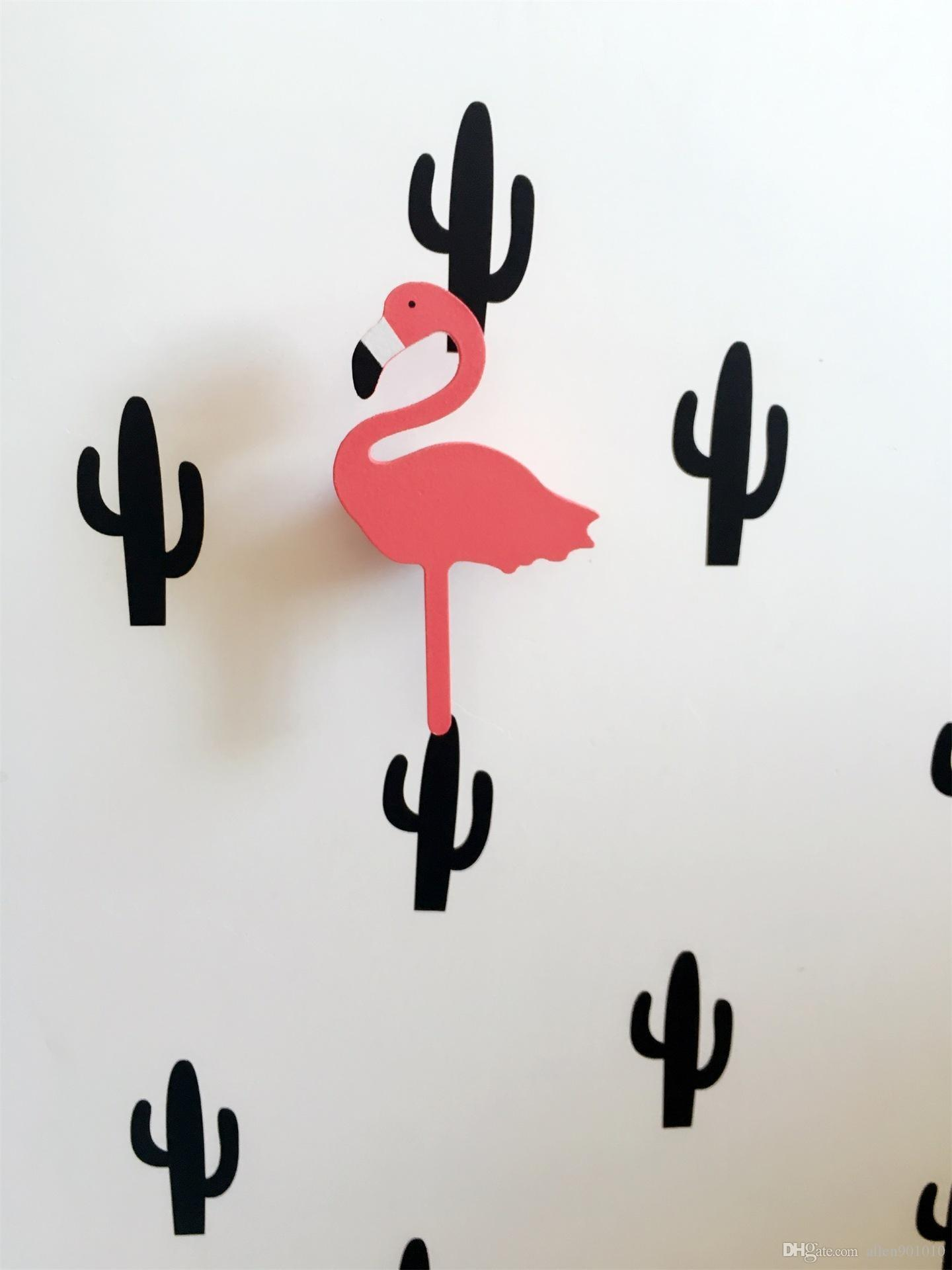 Ins Hot Cartoon Flamingo Wooden Wall Sticker Clothing