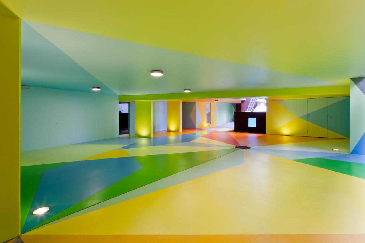 Inside Garage House Design Colorful Paint Low Ceiling