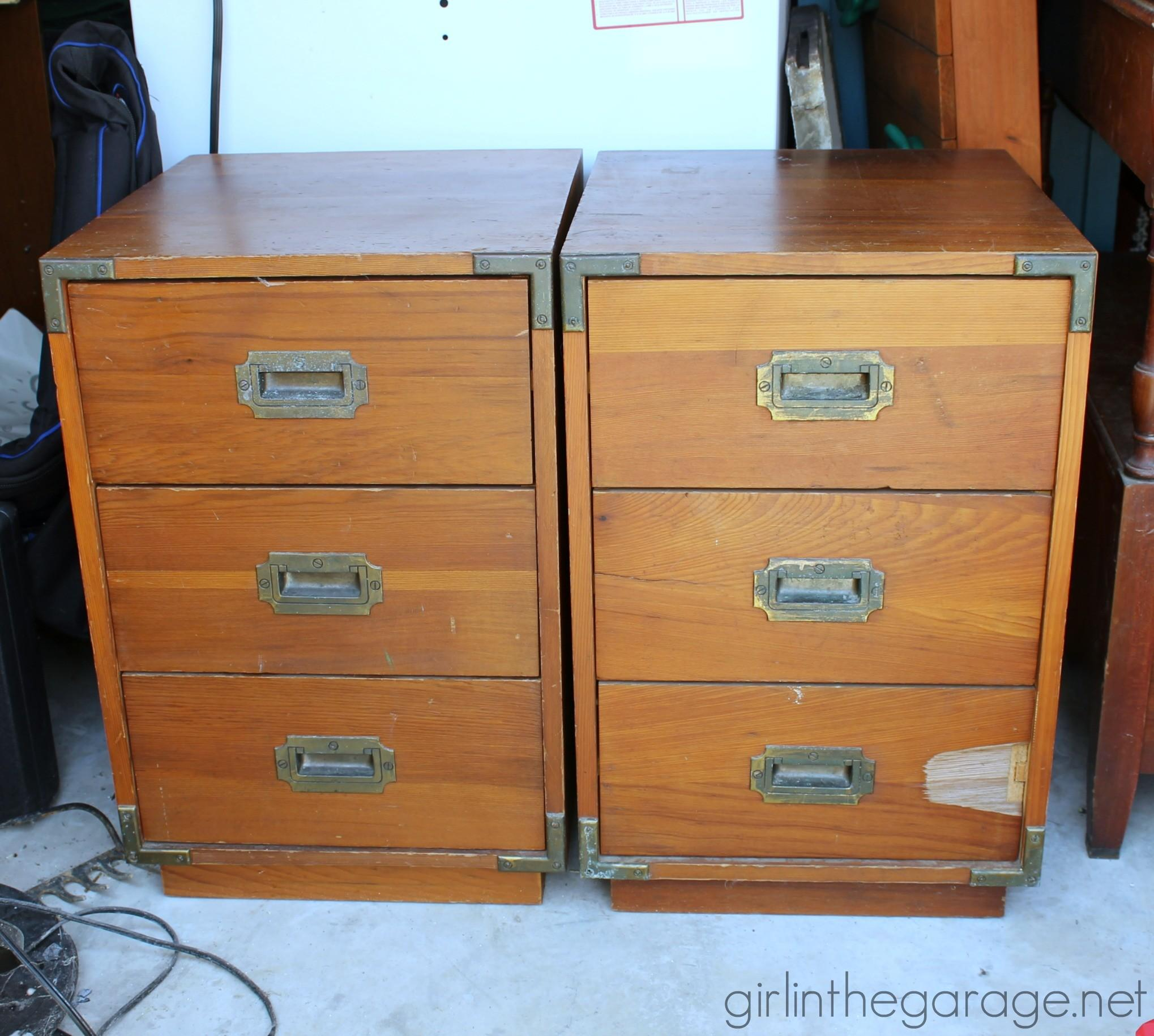 Inspired Trunk Bedside Table Makeover Girl Garage