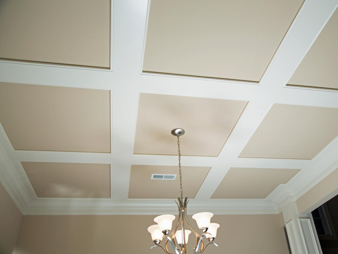 Install Grasscloth Coffered Ceiling