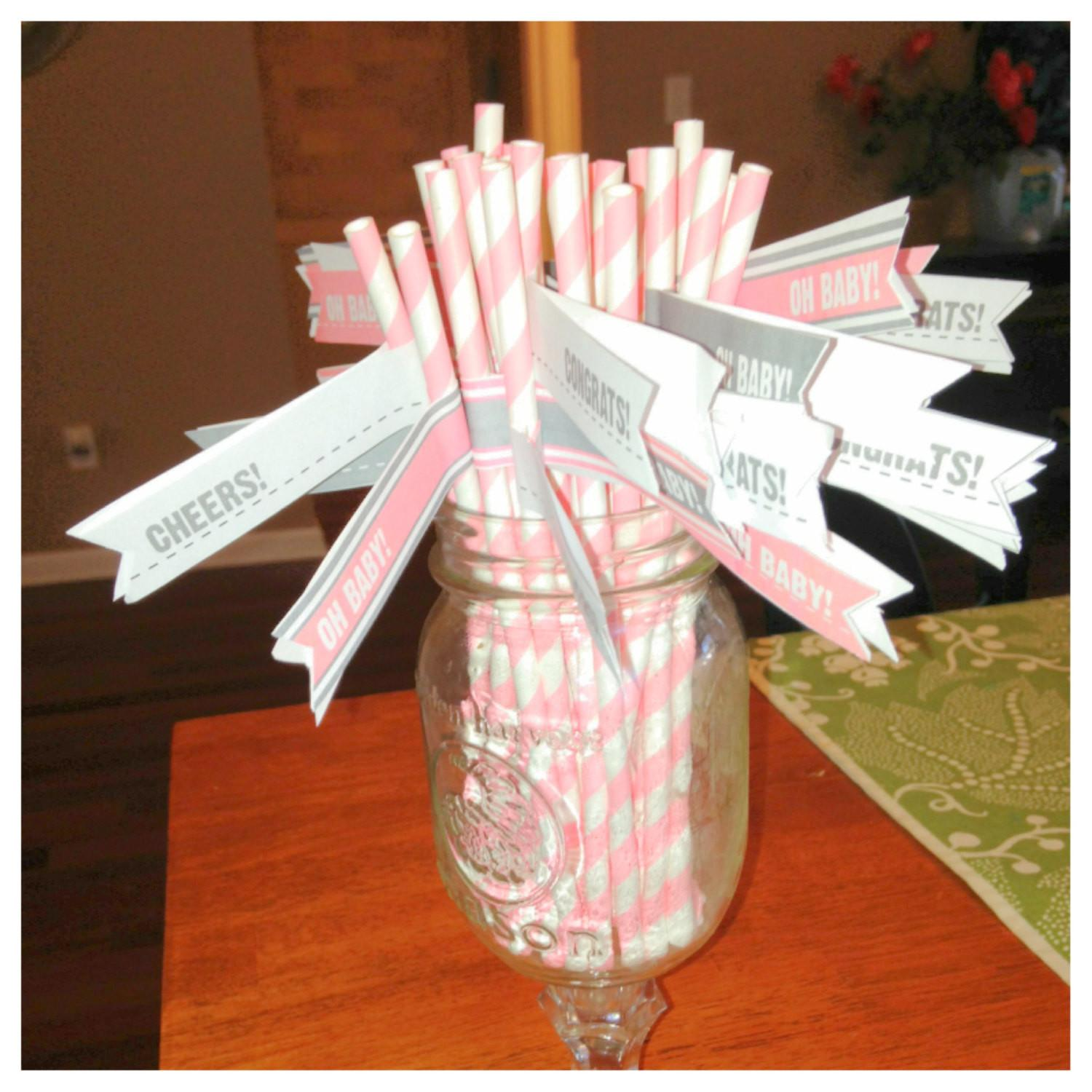 Instant Grey Pink Drink Flags Baby Shower