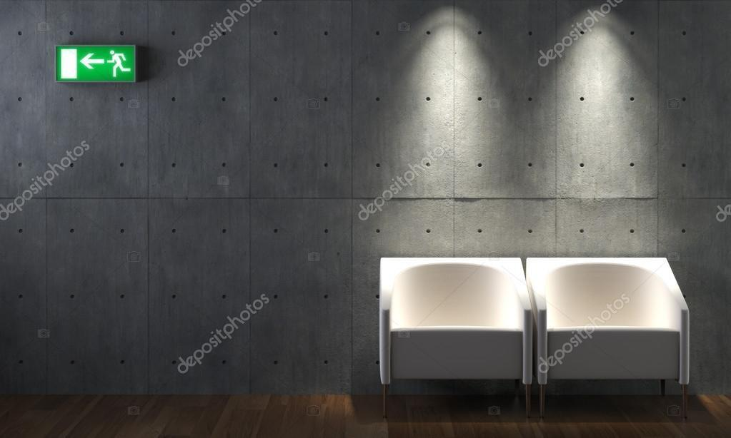 Interior Design Concrete Wall Chairs Stock