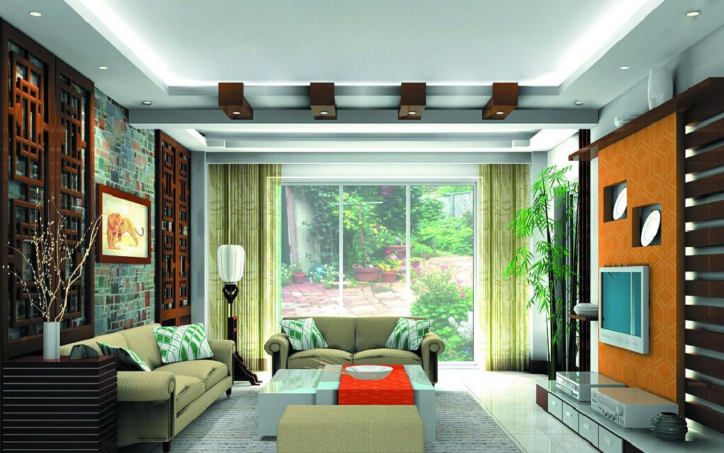 Interior Design Living Room Chinese Garden Style