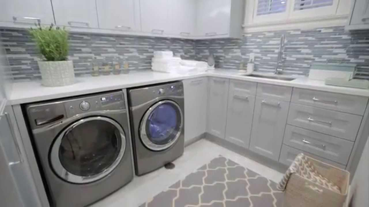 Interior Design Small Storage Filled Blue Grey Laundry