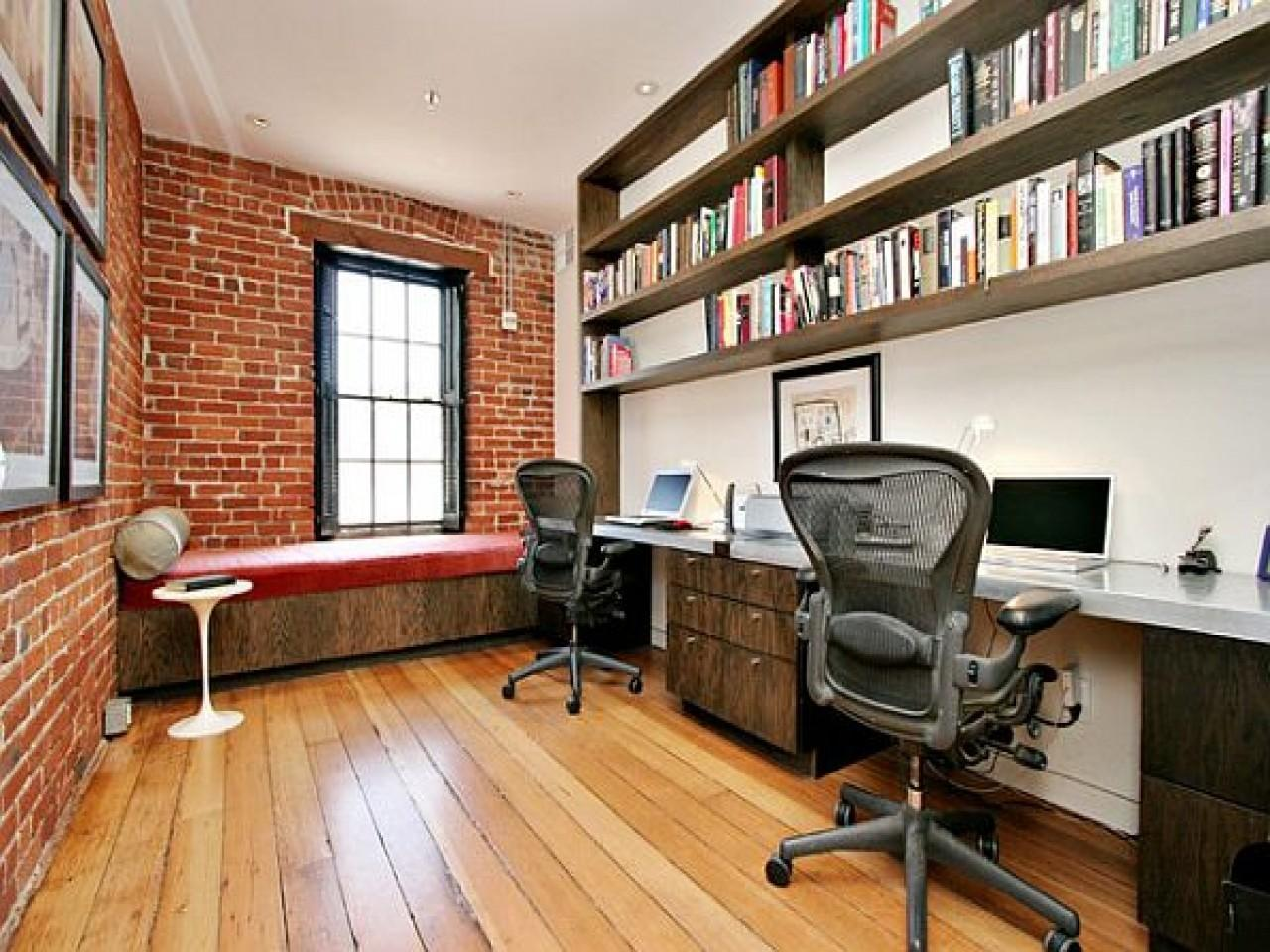 Interior Exposed Brick Wall Home Office Design