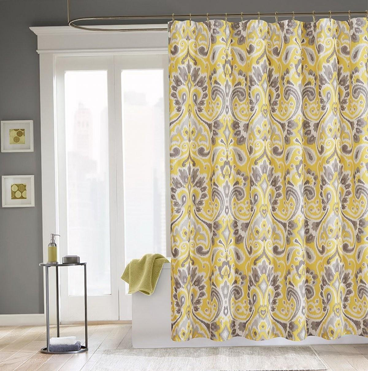 Interior Gray Yellow Bathroom Linen Shower Curtains
