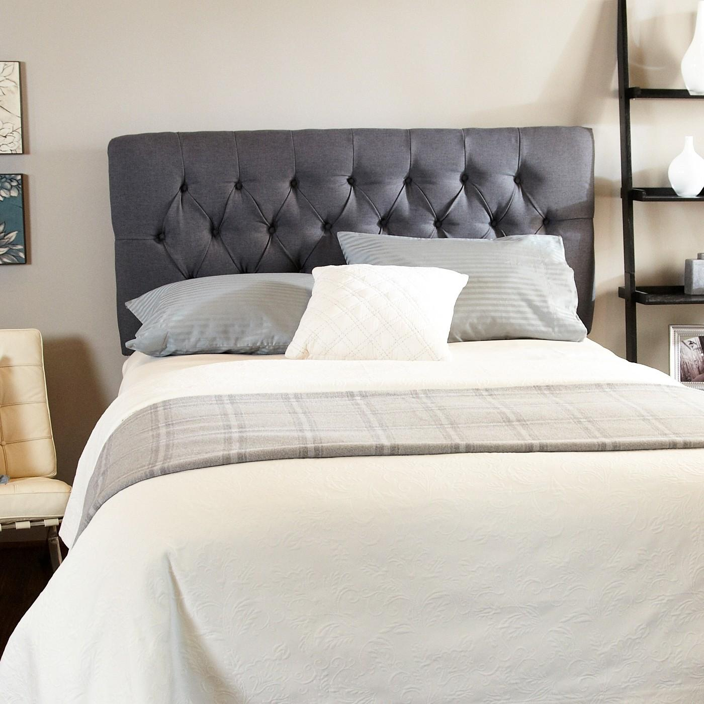 Interior Large Grey Leather Headboard Connected