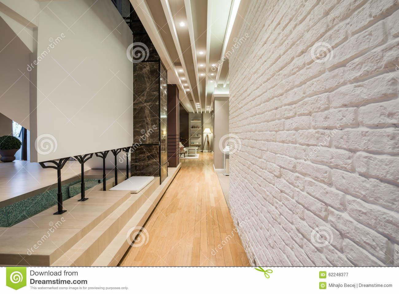 Interior Long Corridor White Brick Wall Stock