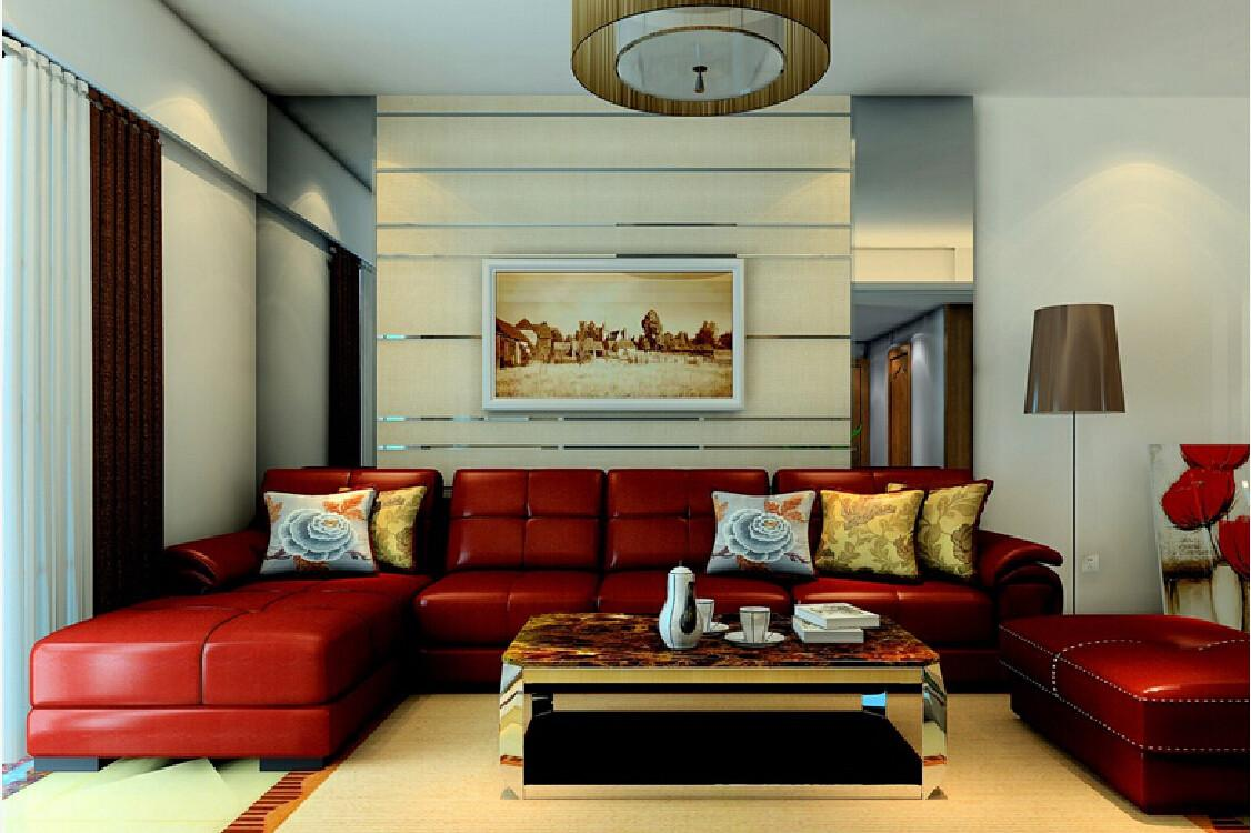 Interior Red Leather Sofas Living Room