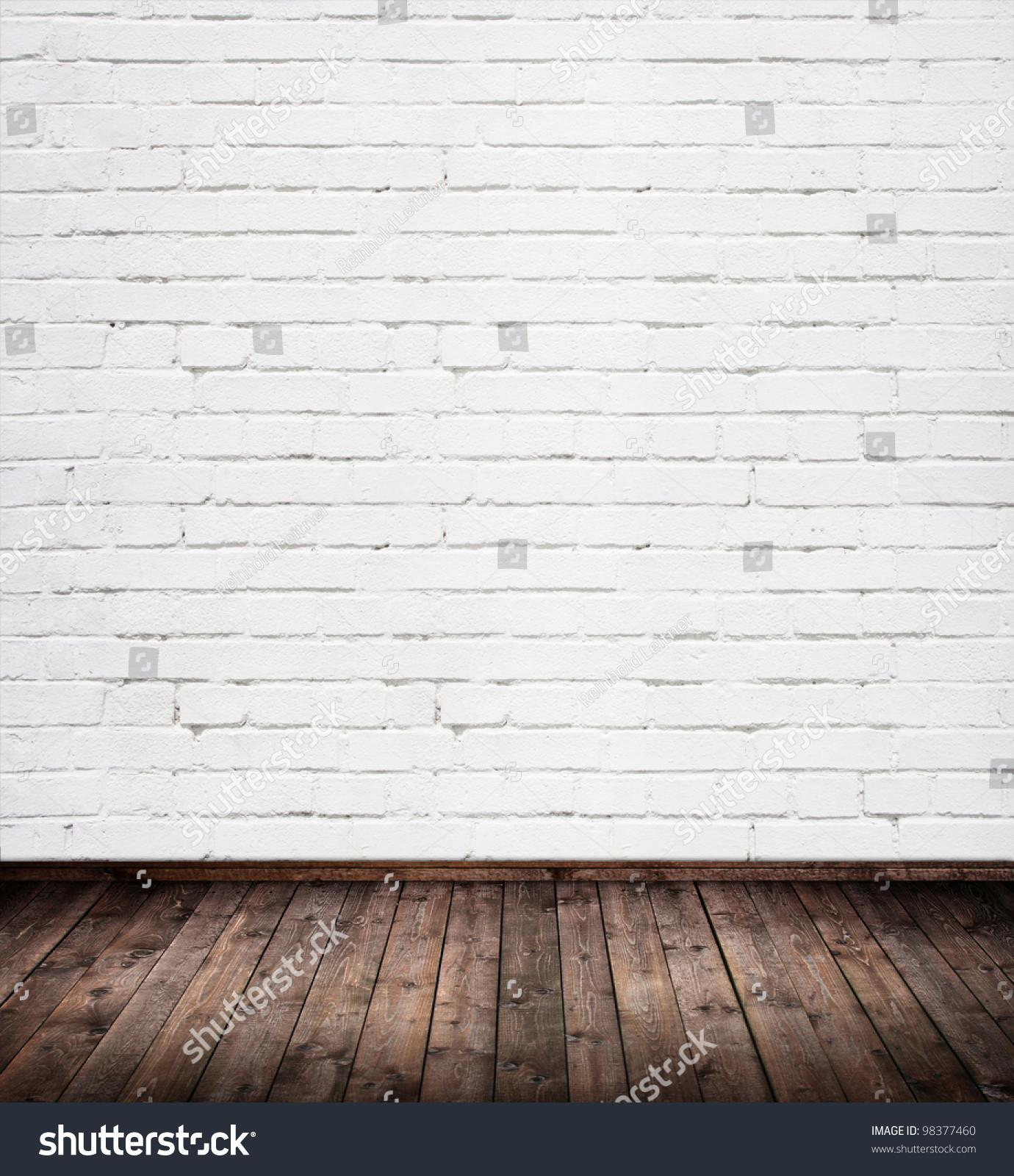 Interior Room White Brick Wall Stock