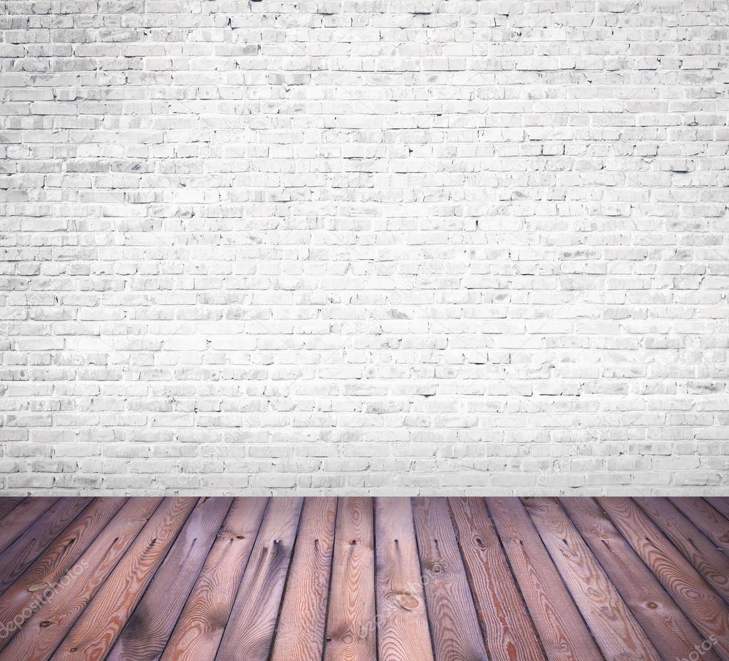 Interior Room White Brick Wall Wooden Floor