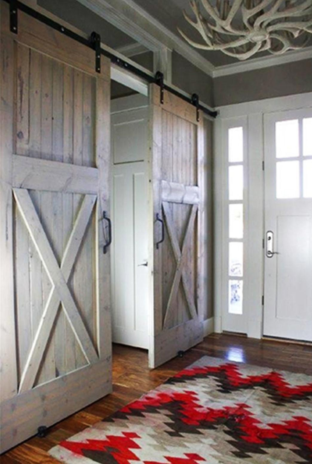 Interior Sliding Barn Door Chevron Rug Pattern