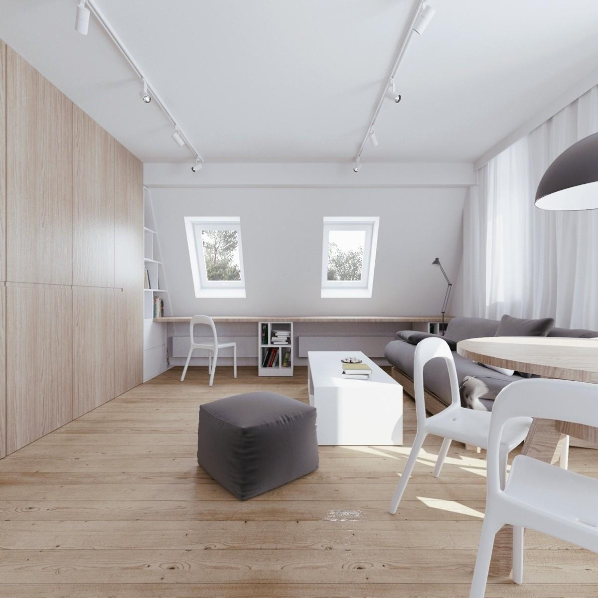 Interior Soft Colored Attic Home Office Wood Panel