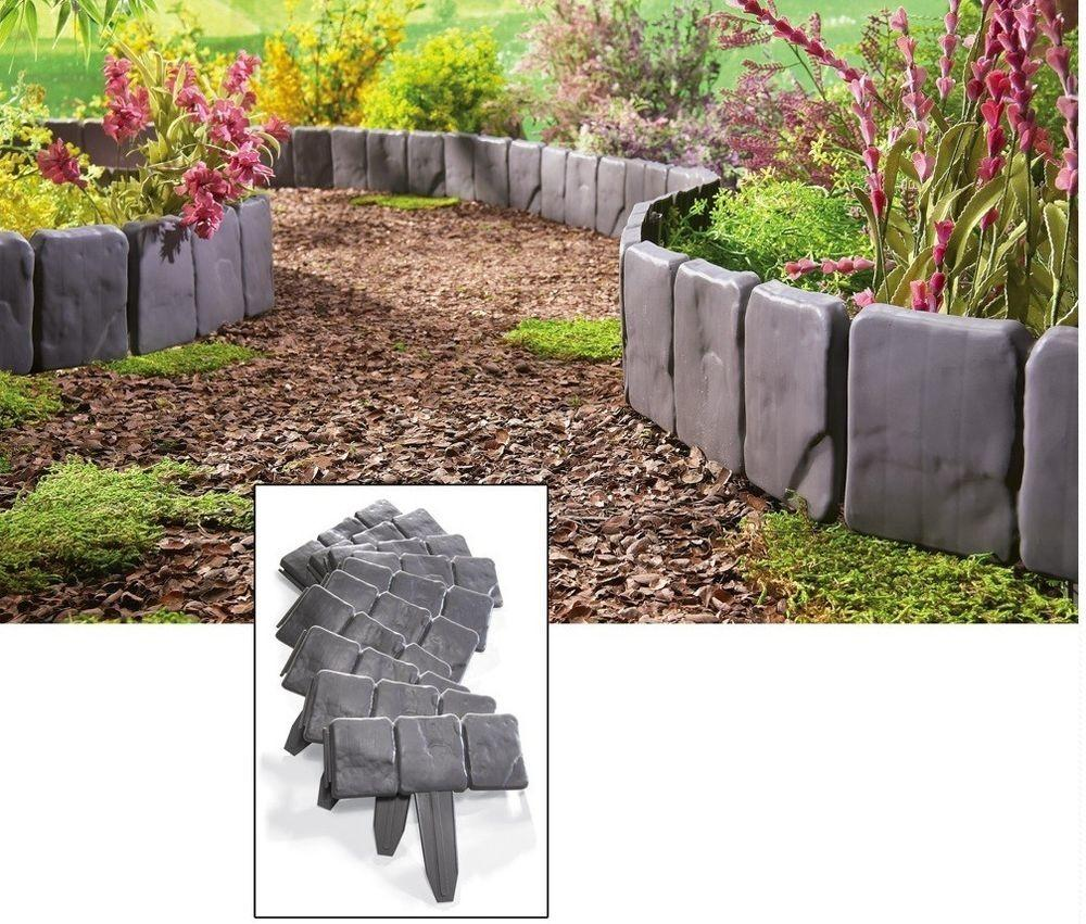Interlocking Faux Stone Border Edging Piece Garden