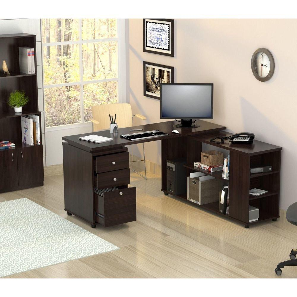 Inval Computer Work Station Shaped Desk Table