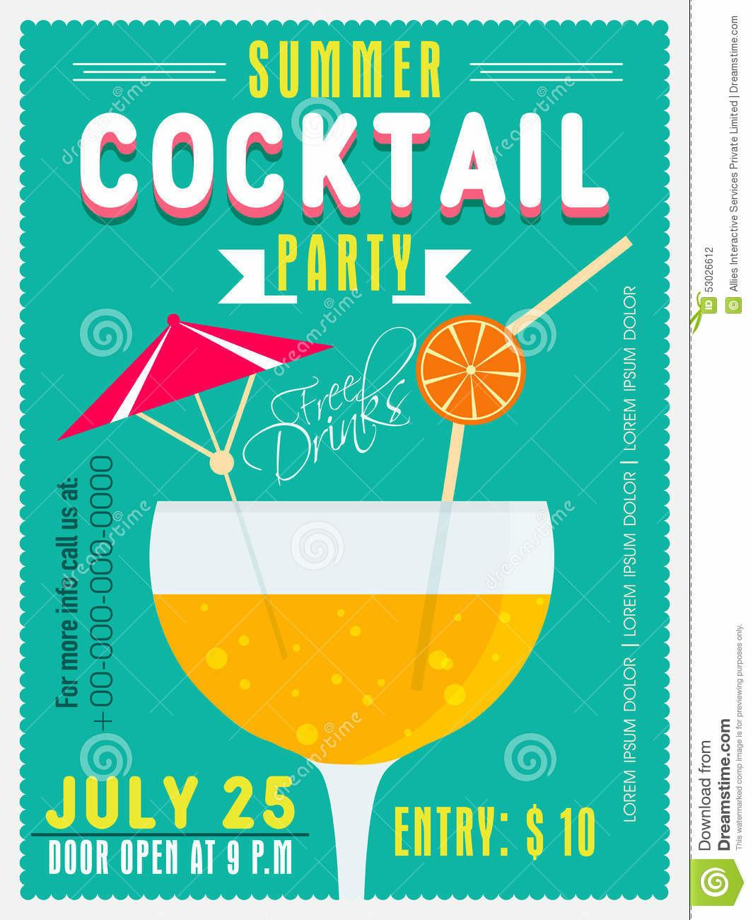 Invitation Card Summer Cocktail Party Stock