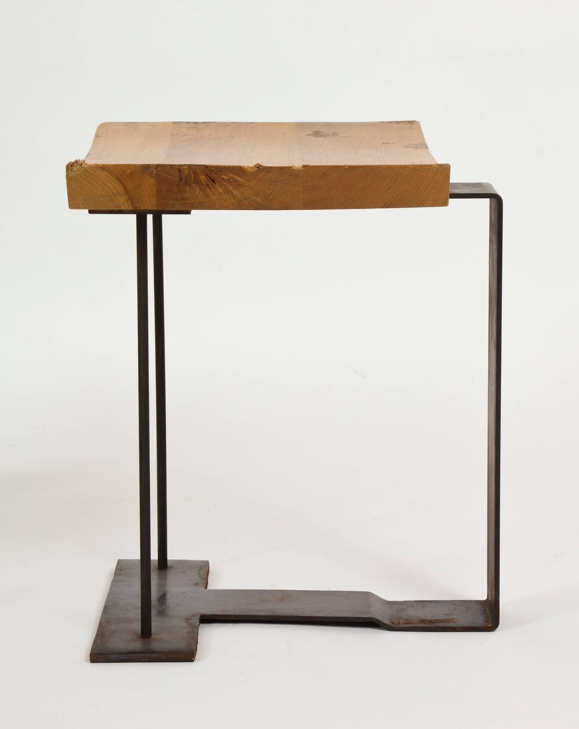 Iron Wood Stools Tables After Pierre Chareau Sn2