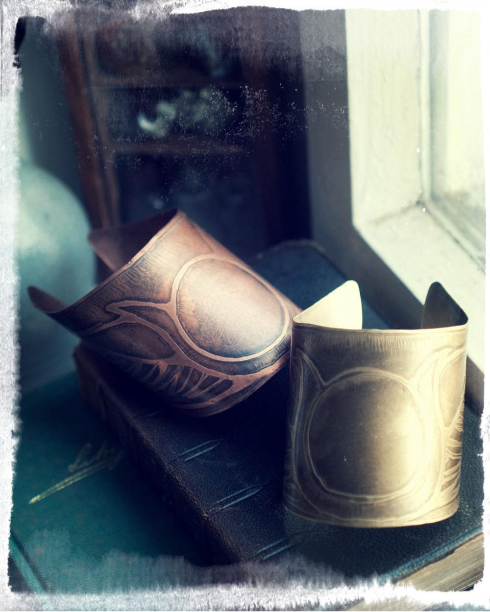 Isis Cuff Etched Brass Copper Bracelet