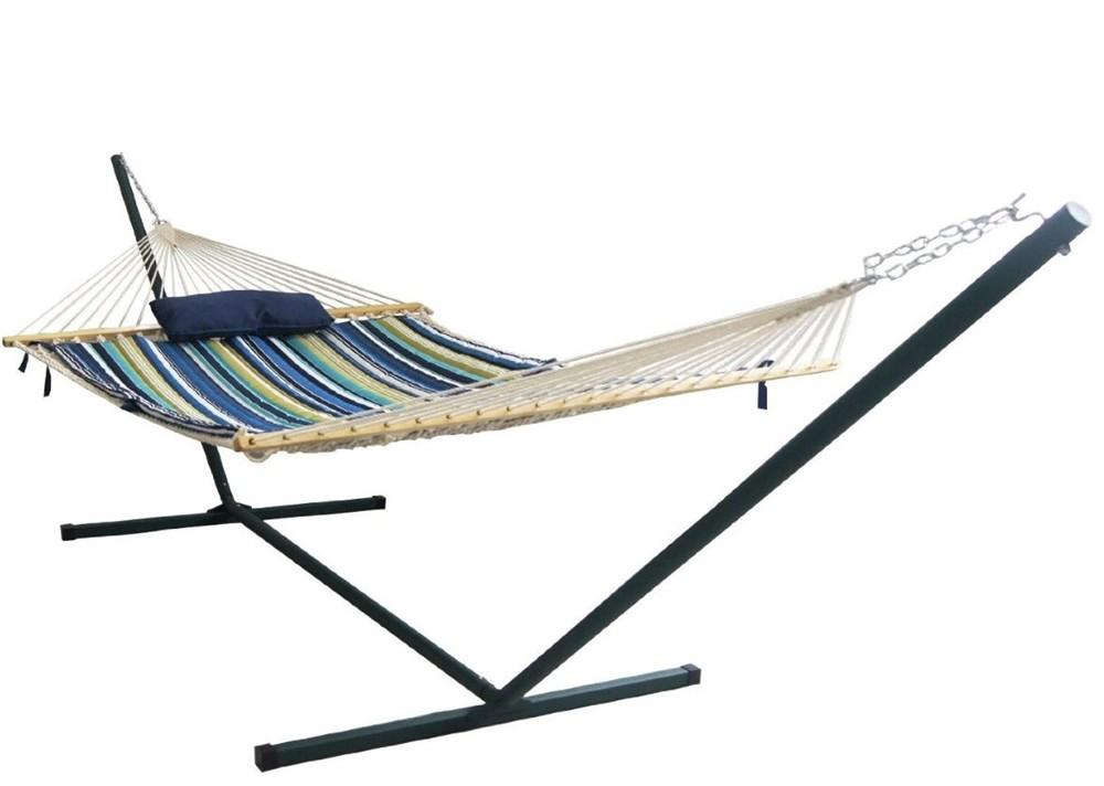 Island Retreat Hammock Set Blue Cover Person