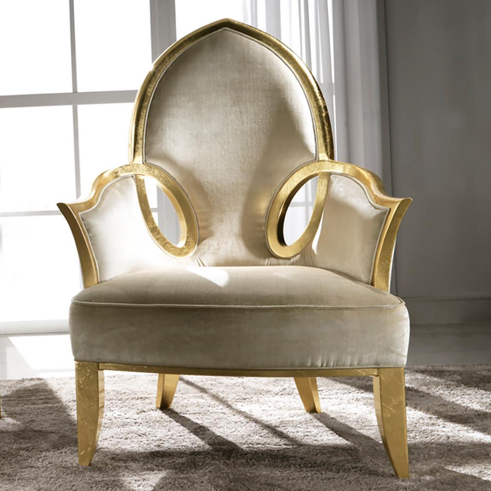 Italian Gold Leaf Upholstered Occasional Chair