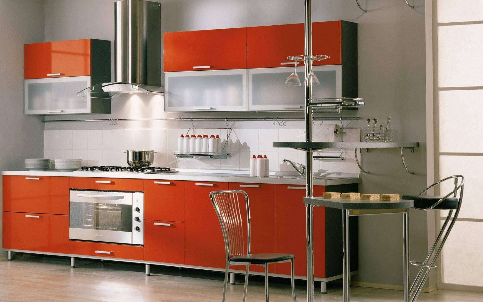 Italian Kitchen Design Red Open Layout Fitted Cabinets