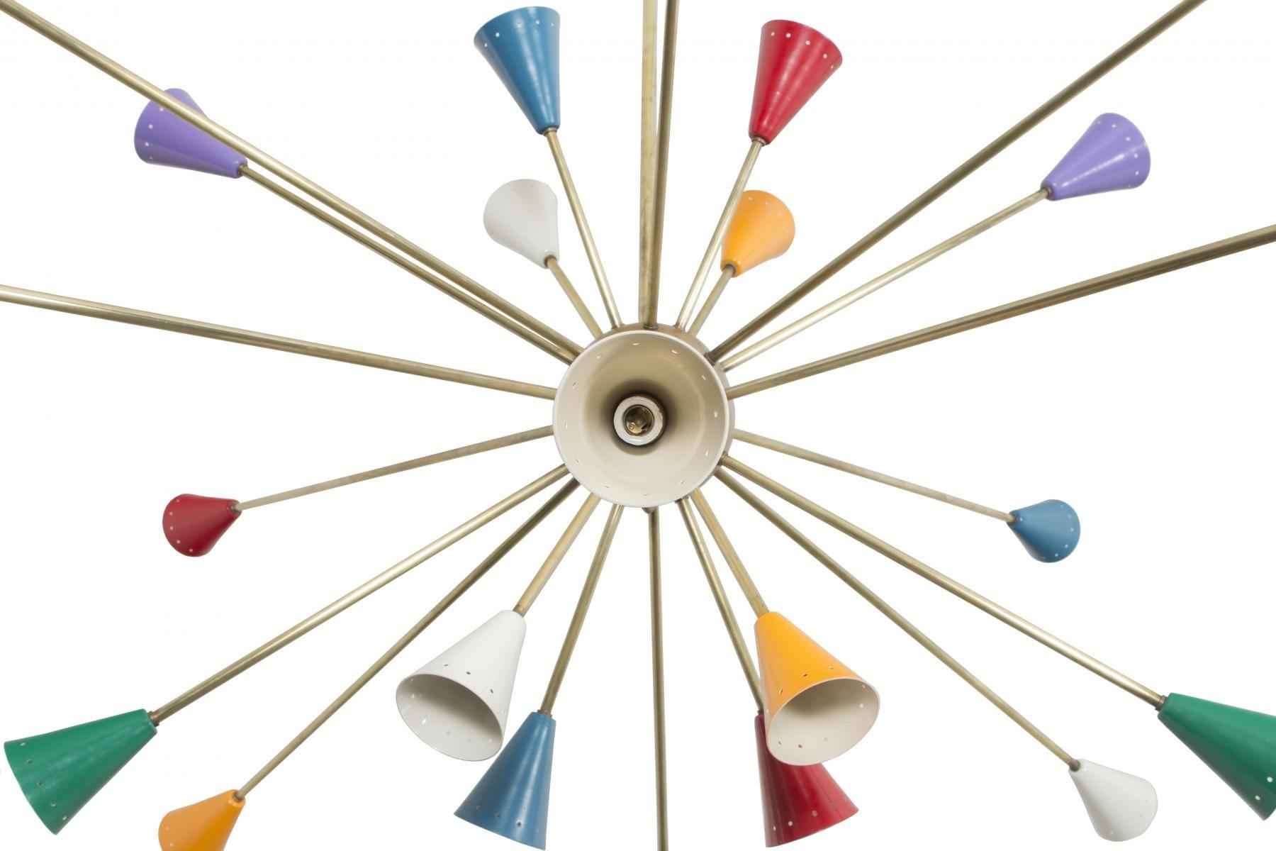 Italian Multicolored Brass Sputnik Ceiling Light 1950s
